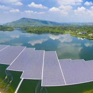 Aerial view of Floating solar panels or solar cell Platform system on the lake